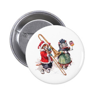 Cat Plays Trombone in the Snow 6 Cm Round Badge