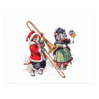 Cat Plays Trombone in the Snow Postcard