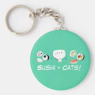 Cat plus Sushi equals Cuteness! Key Ring