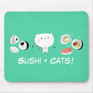 Cat plus Sushi equals Cuteness! Mouse Mat