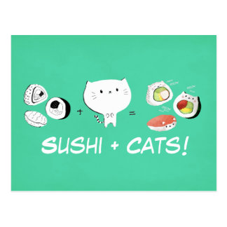 Cat plus Sushi equals Cuteness! Postcard