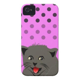 Cat_polka dot_baby girl_pink_desing iPhone 4 Case-Mate case