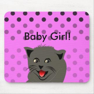 Cat_polka dot_baby girl_pink_desing mouse pad