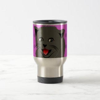 Cat_polka dot_baby girl_pink_desing stainless steel travel mug
