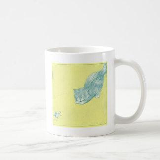 Cat Poncing at Bird Artwork Basic White Mug