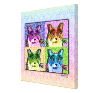 Cat Pop Art (sq) Gallery Wrapped Canvas