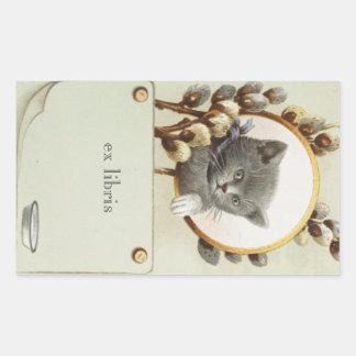 CAT PORTRAIT BOOKPLATE RECTANGULAR STICKER