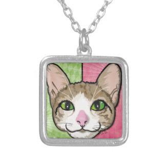 Cat Power Illustration Personalized Necklace