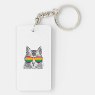 Cat Pride Sunglasses Double-Sided Rectangular Acrylic Key Ring