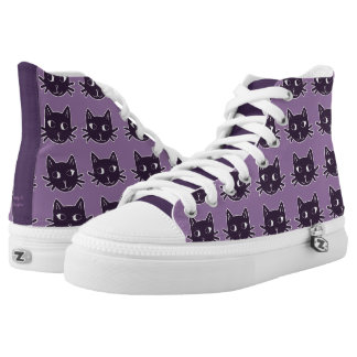 Cat Print Purple Shoes