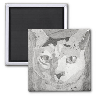 Cat Print Square Magnet