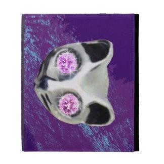 cat printed jewel design iPad folio cover