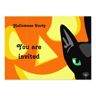Cat Pumpkin Halloween Invitation