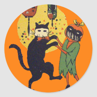 Cat & Pumpkin Masquerade Classic Round Sticker
