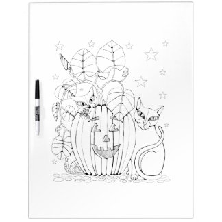 Cat Pumpkin Scene Adult Coloring Dry Erase Whiteboards