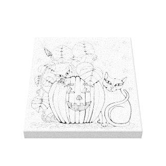 Cat Pumpkin Scene Line Art Design Canvas Print