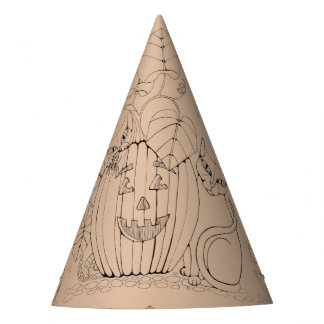 Cat Pumpkin Scene Line Art Design Party Hat