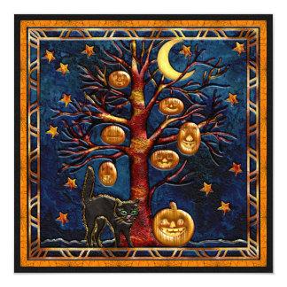 Cat & Pumpkins Halloween Jewels Party Invites
