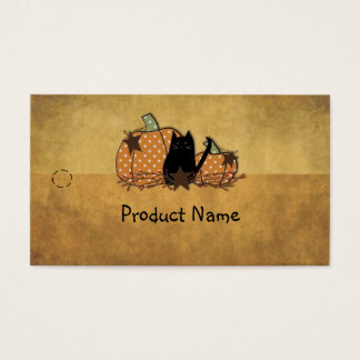 Cat & Pumpkins Hang Tag Business Card