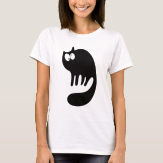 Cat Purring Black Topsy Turvey Eyes T-Shirt
