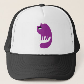 Cat Purring Purple Hi Eyes Trucker Hat