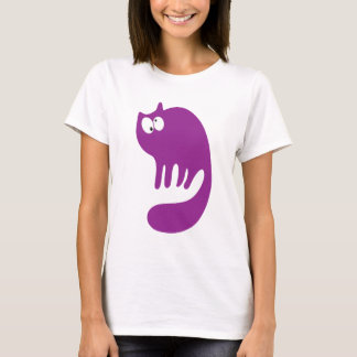 Cat Purring Purple Topsy Turvey Eyes T-Shirt