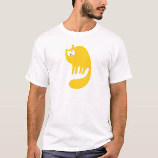 Cat Purring Yellow Topsy Turvey Eyes T-Shirt