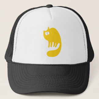 Cat Purring Yellow Wtf Eyes Trucker Hat