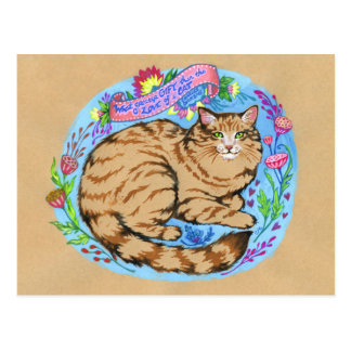 Cat Quote Art Whimsical Animal Postcard