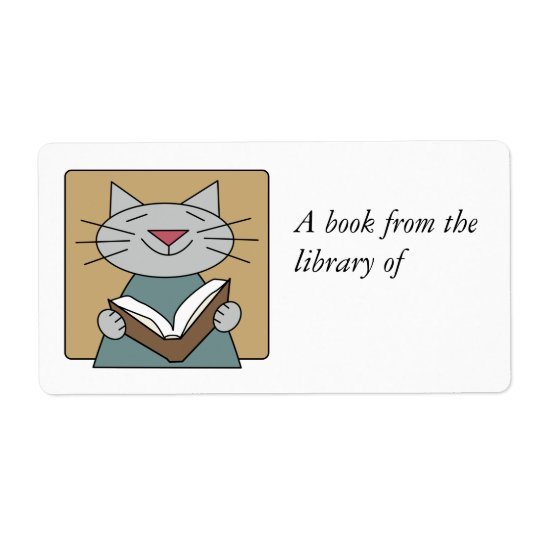 Cat Reading a Book Shipping Label
