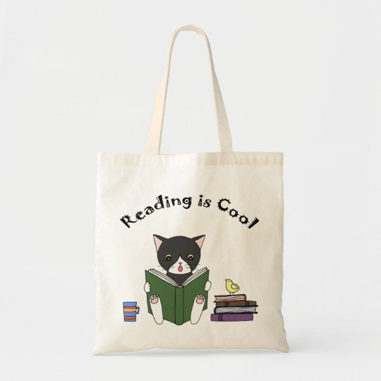 Cat Reading Book Tote Bag Funny Cat Library
