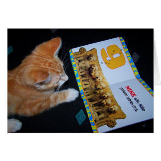 Cat reading card