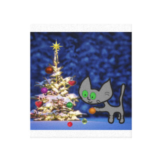 Cat Ready For Christmas Gallery Wrap Canvas
