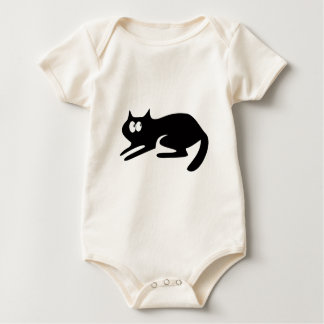 Cat Ready To Pounce Black Look Up There Eyes Baby Bodysuit
