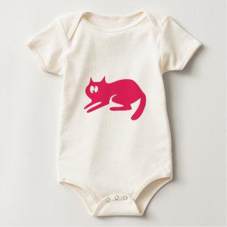 Cat Ready To Pounce Pink Topsy Turvey Eyes Baby Bodysuit