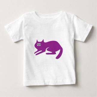Cat Ready To Pounce Purple Cash Eyes Blue Baby T-Shirt