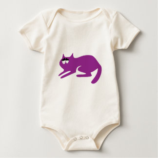 Cat Ready To Pounce Purple So Tired Eyes Baby Bodysuit