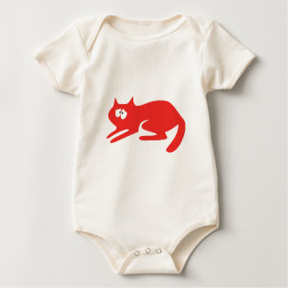 Cat Ready To Pounce Red Vulnarable Eyes Baby Bodysuit