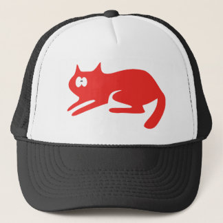 Cat Ready To Pounce Red Wtf Eyes Trucker Hat
