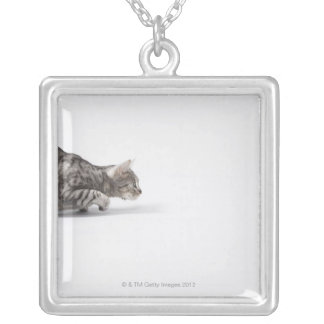 Cat ready to pounce silver plated necklace