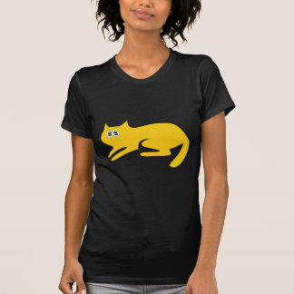 Cat Ready To Pounce Yellow Cash Eyes Blue T-Shirt