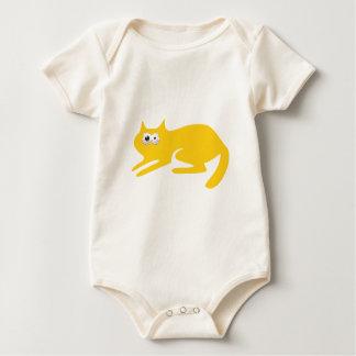 Cat Ready To Pounce Yellow Manic Bloodshot Eyes Baby Bodysuit