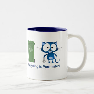Cat Recycle Two-Tone Coffee Mug