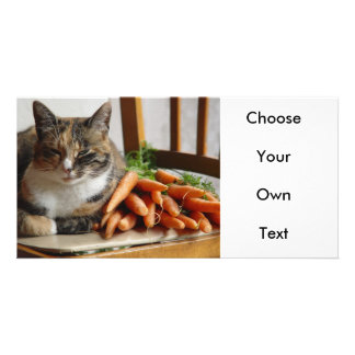Cat Red with Carrots Customized Photo Card
