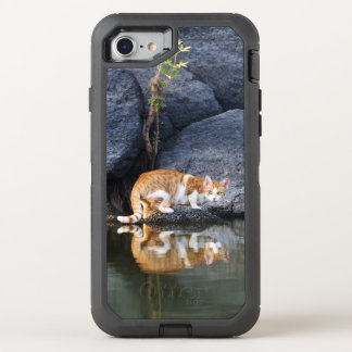 Cat Reflection in Pond Water Funny - Phone Protect OtterBox Defender iPhone 8/7 Case