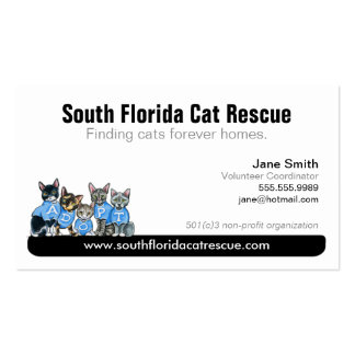 Cat Rescue Non Profit Black Tagline Double-Sided Standard Business Cards (Pack Of 100)