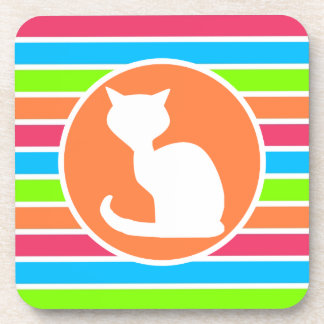 Cat Retro Neon Rainbow Coaster