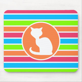 Cat Retro Neon Rainbow Mousepad
