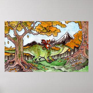 Cat Rides a Dinosaur Poster