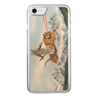 Cat Riding A Tiger Carved iPhone 8/7 Case